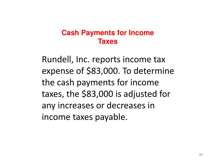 Cash Payments for Income Taxes