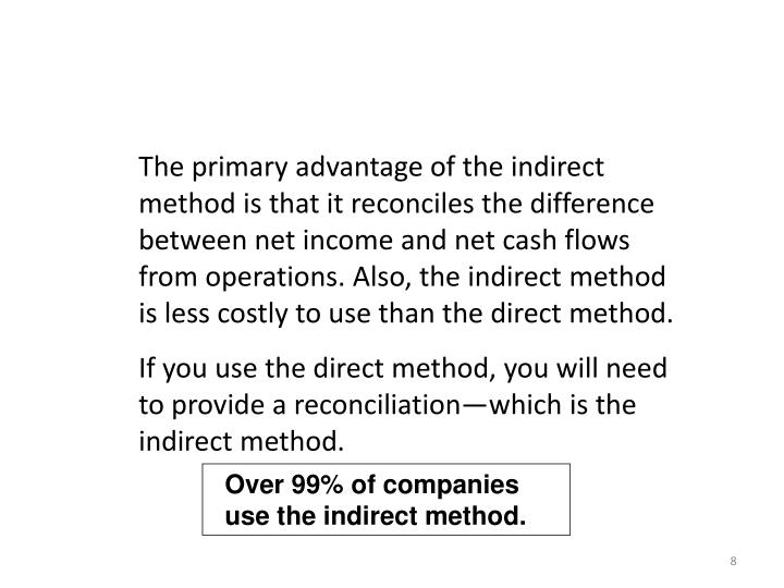 The primary advantage of the indirect method is that it reconciles the difference between net income and net cash flows from operations. Also, the indirect method is less costly to use than the direct method.