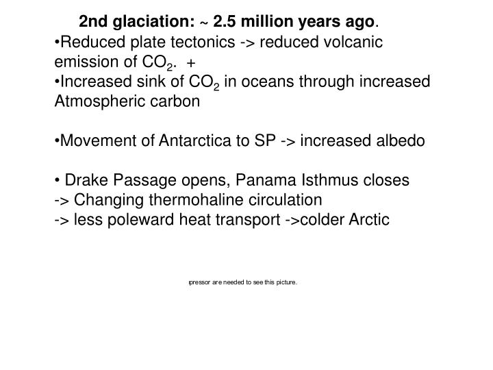 2nd glaciation: ~ 2.5 million years ago