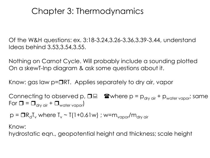 Chapter 3: Thermodynamics