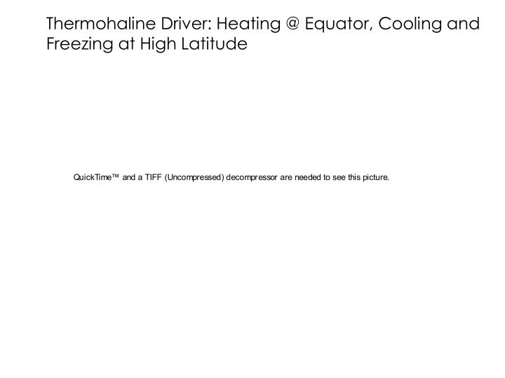 Thermohaline Driver: Heating @ Equator, Cooling and