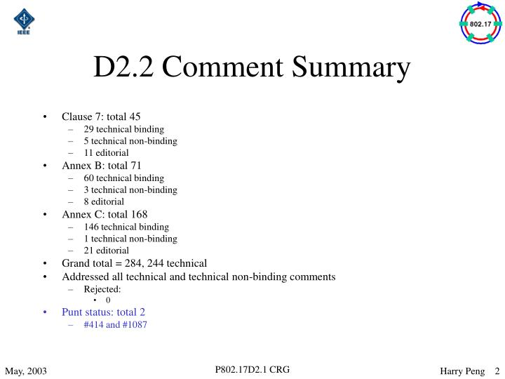 D2 2 comment summary
