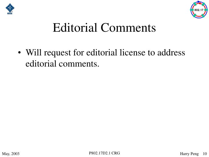 Editorial Comments