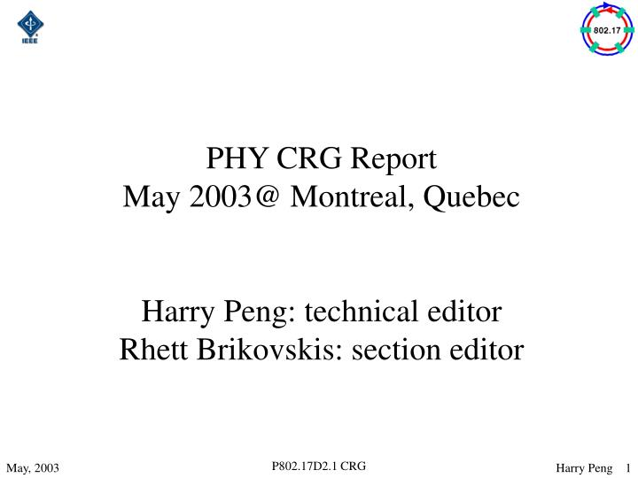 PHY CRG Report