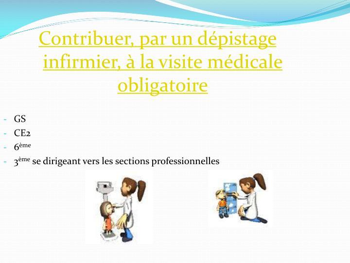 Contribuer, par un dépistage infirmier, à la visite médicale obligatoire