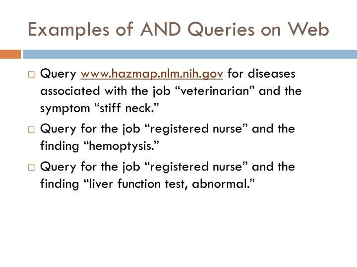 Examples of AND Queries on Web