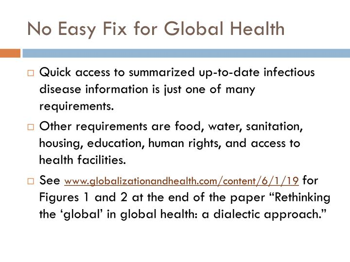 No Easy Fix for Global Health