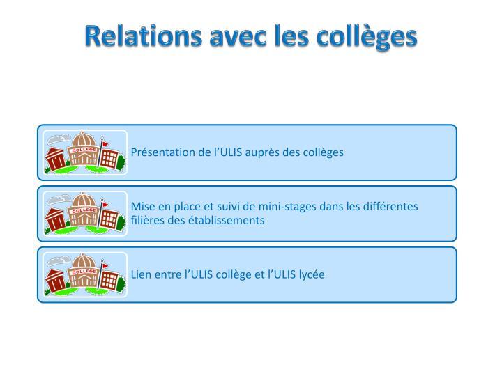 Relations avec les collèges