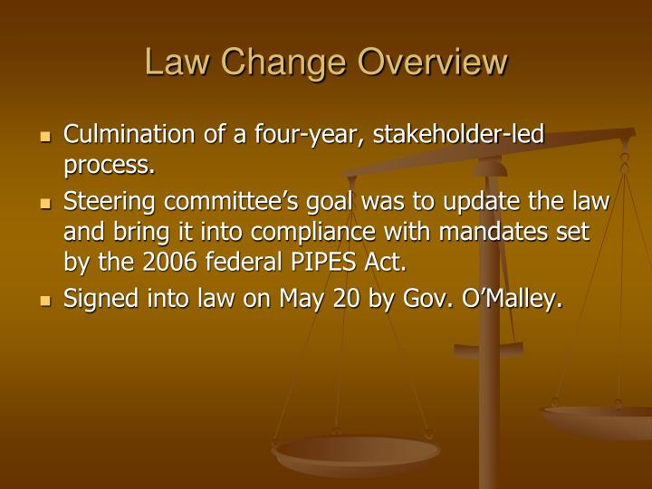 Law change overview