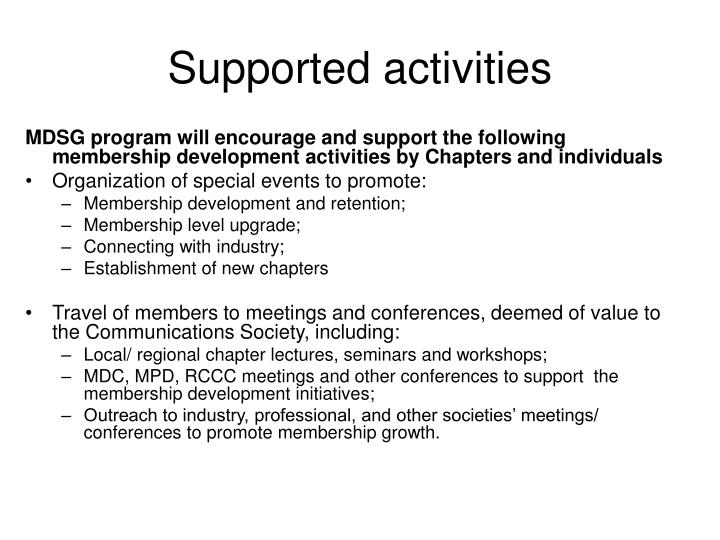 Supported activities