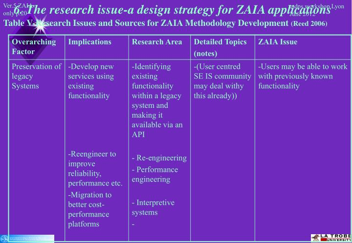 6. The research issue-a design strategy for ZAIA applications