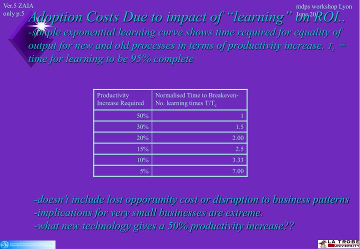 """Adoption Costs Due to impact of """"learning"""" on ROI.."""