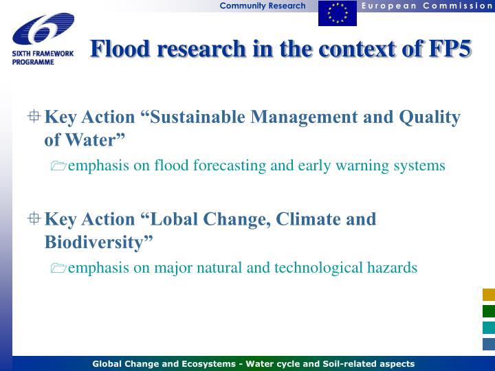 Flood research in the context of FP5
