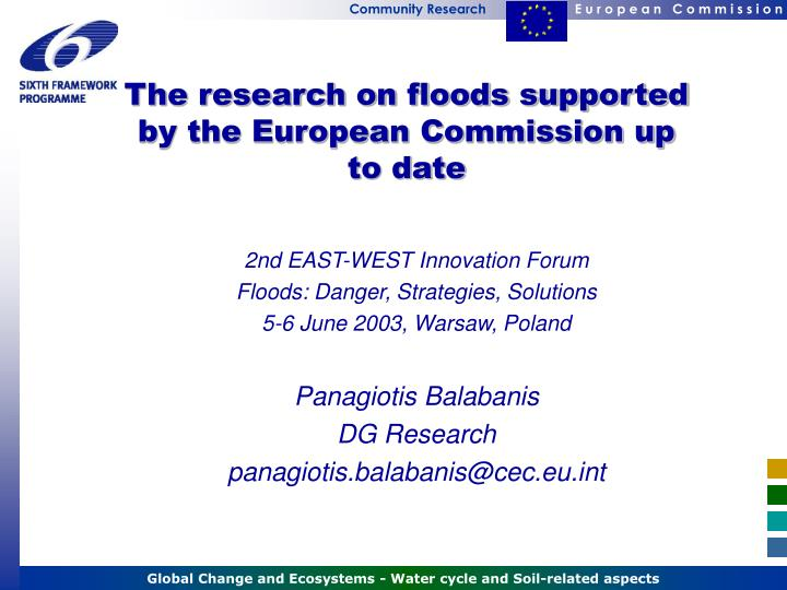 The research on floods supported by the European Commission up to date