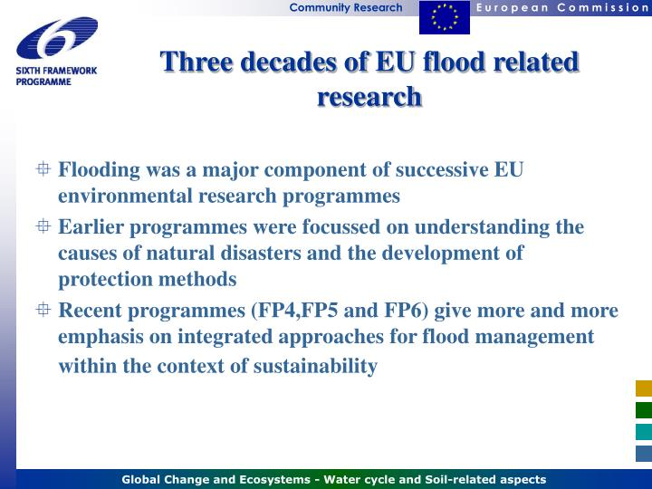 Three decades of eu flood related research