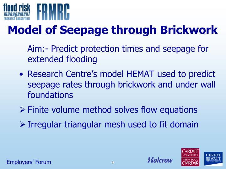 Model of Seepage through Brickwork