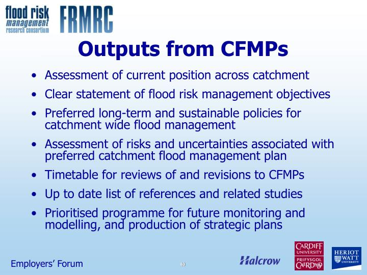 Outputs from CFMPs