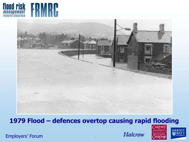1979 Flood – defences overtop causing rapid flooding
