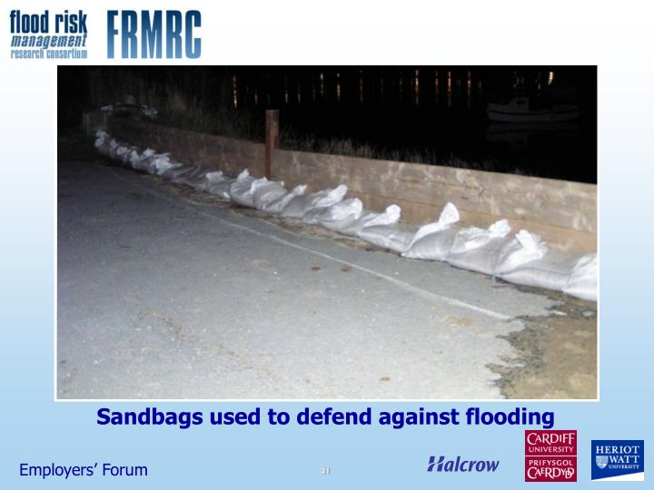 Sandbags used to defend against flooding