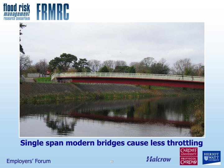 Single span modern bridges cause less throttling