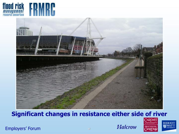 Significant changes in resistance either side of river