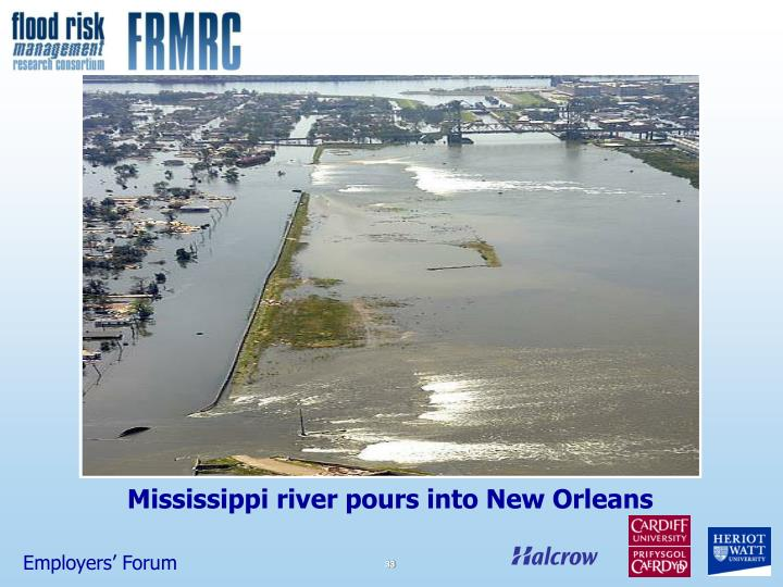 Mississippi river pours into New Orleans