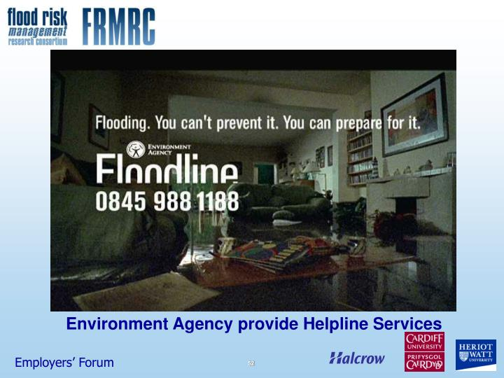 Environment Agency provide Helpline Services