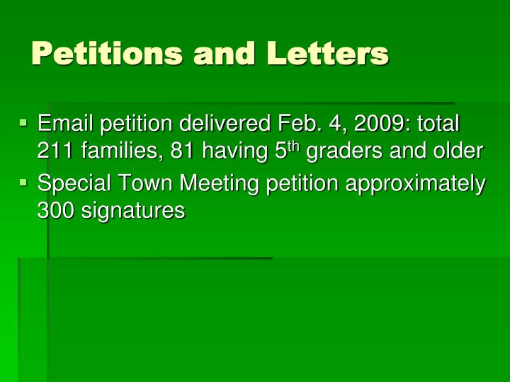 Petitions and Letters