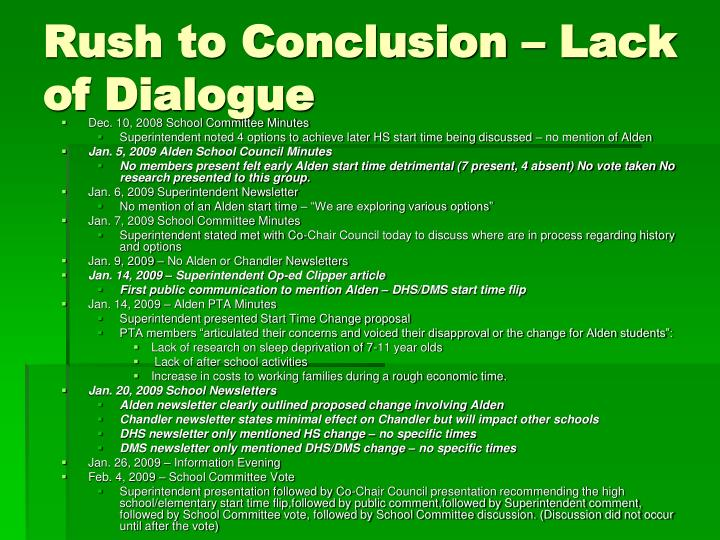 Rush to Conclusion – Lack of Dialogue