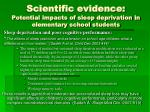 scientific evidence potential impacts of sleep deprivation in elementary school students2
