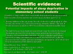scientific evidence potential impacts of sleep deprivation in elementary school students5