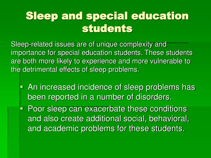 Sleep and special education students