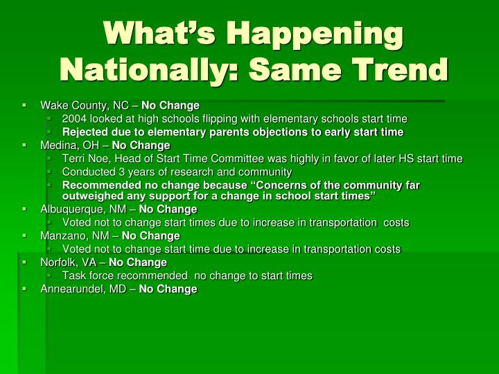 What's Happening Nationally: Same Trend