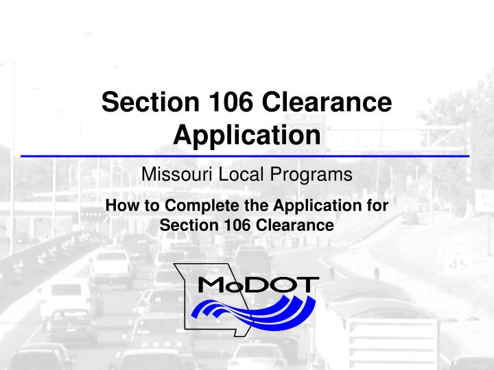 Section 106 Clearance Application