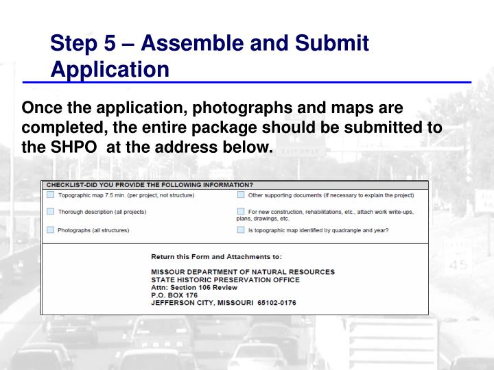 Step 5 – Assemble and Submit Application