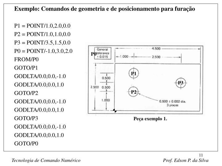 Exemplo: Comandos de geometria e de posicionamento para furação