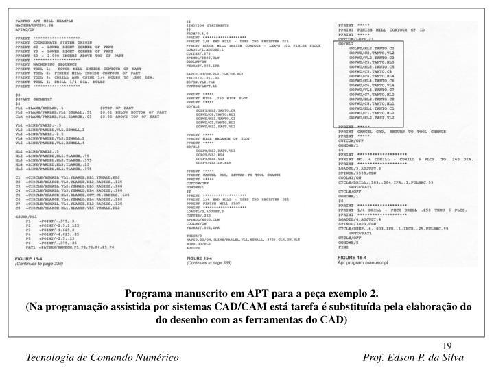 Programa manuscrito em APT para a peça exemplo 2.