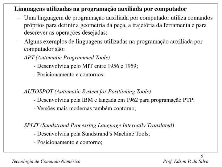 Linguagens utilizadas na programação auxiliada por computador