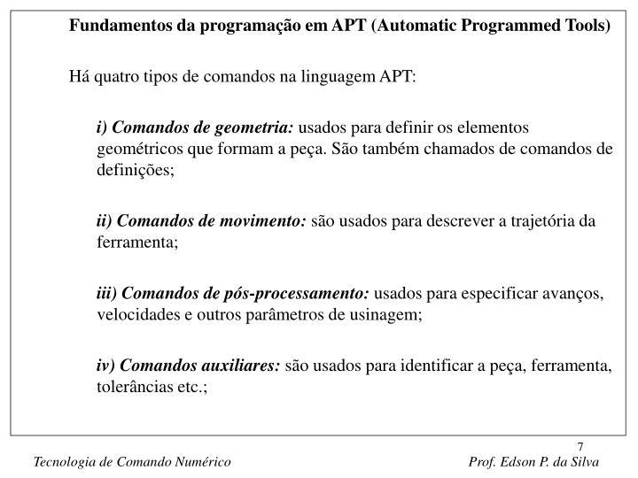 Fundamentos da programação em APT (Automatic Programmed Tools)
