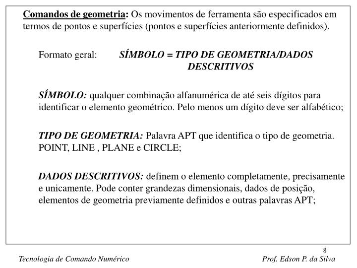 Comandos de geometria