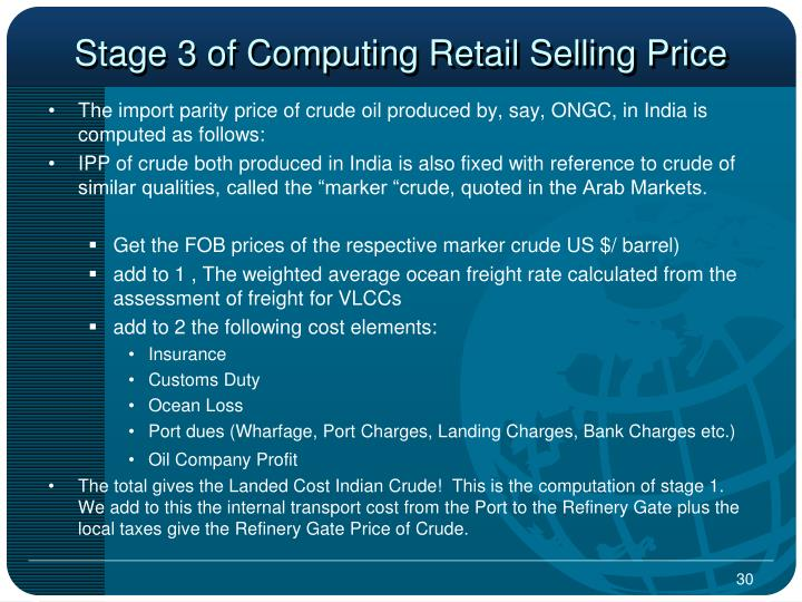 Stage 3 of Computing Retail Selling Price