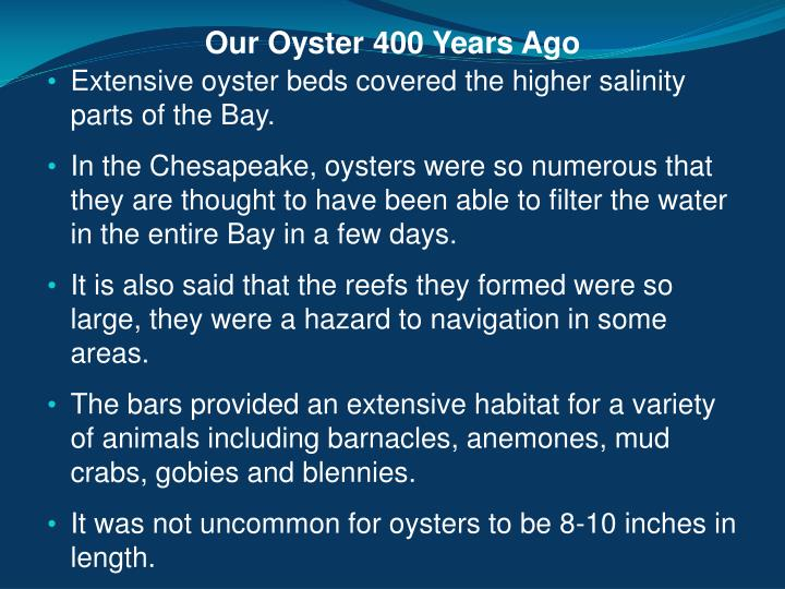 Our Oyster 400 Years Ago