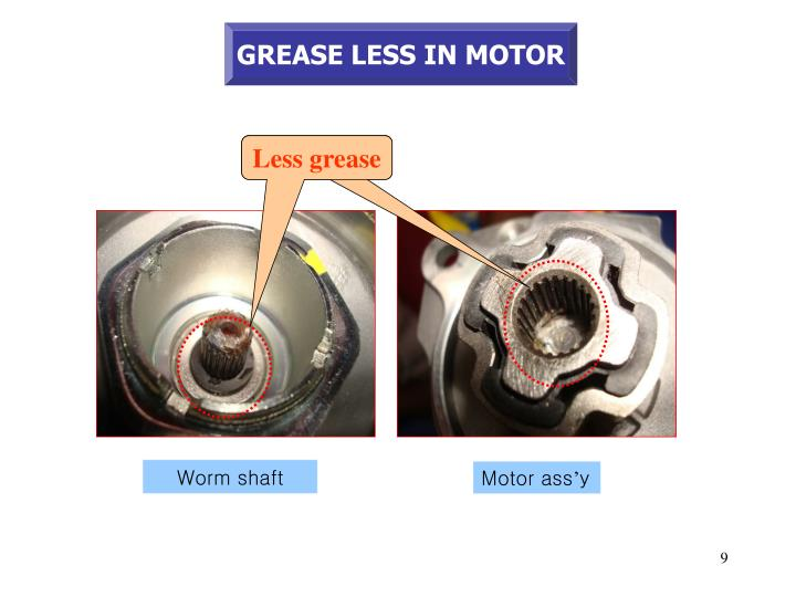 GREASE LESS IN MOTOR