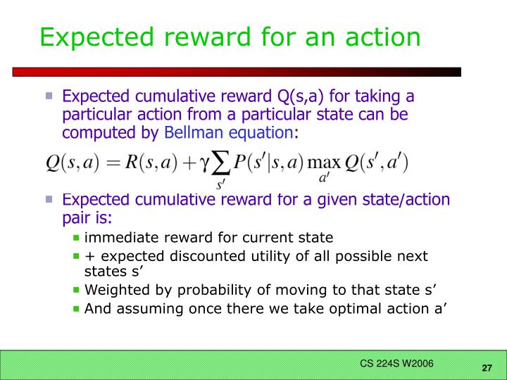 Expected reward for an action