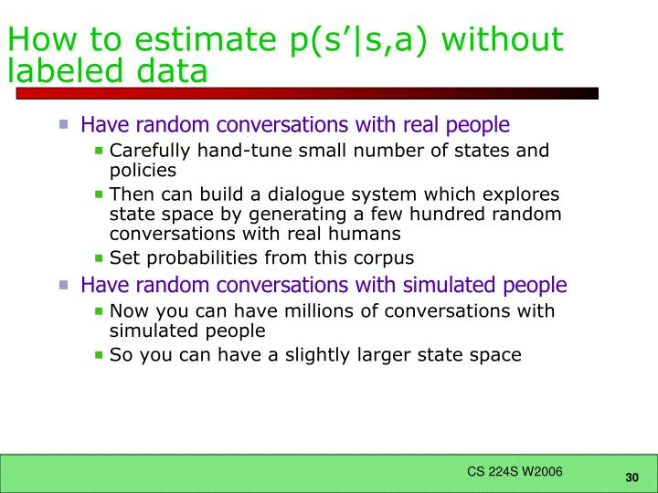 How to estimate p(s'|s,a) without labeled data