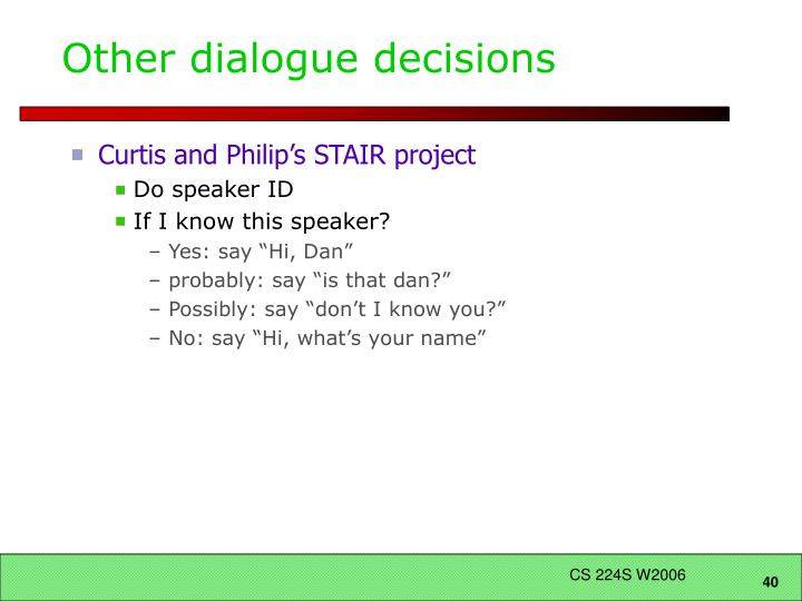 Other dialogue decisions