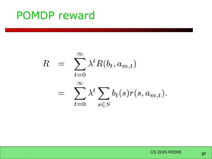 POMDP reward