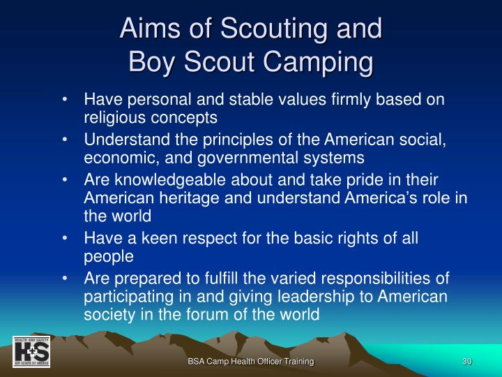 Aims of Scouting and