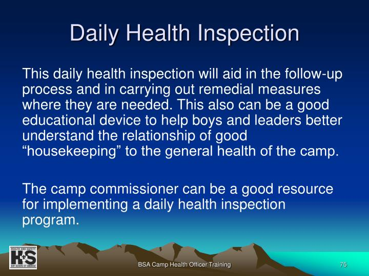Daily Health Inspection
