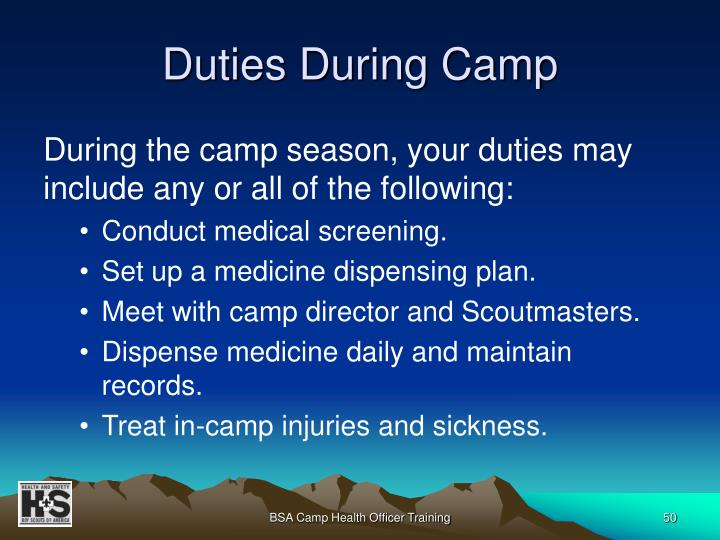 Duties During Camp